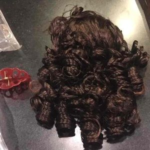 Brown curly hair wiglet ponytail extension clip on